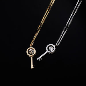 925 Sterling Silver Key Stone Pendant Necklace