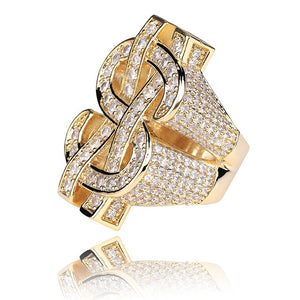 Micro Pave CZ Dollar Sign Ring