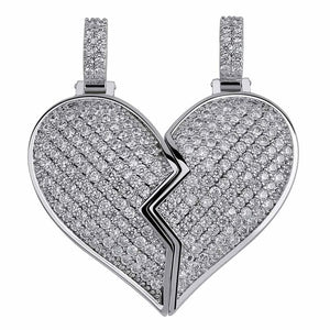 Magnetic Iced Out Broken Heart Pendant & Chain
