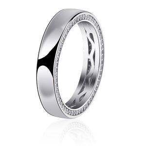 925 Sterling Silver Iced Flat Side Ring