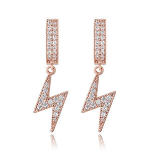Iced Out CZ Hanging Lightning Bolt Earrings