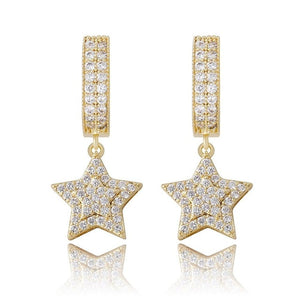 Iced Out CZ Hanging Five-Pointed Star Earrings