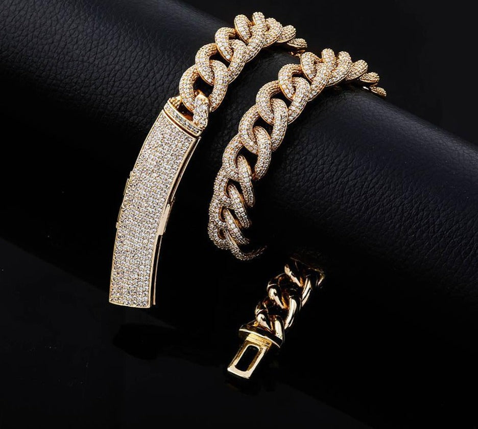 13mm Iced Out Heavy Cuban Link Chain with Big Box Clasp