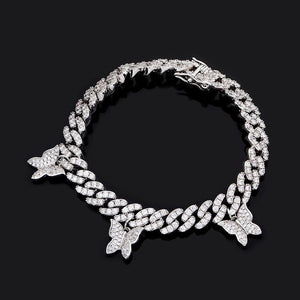 Iced Out Hanging Butterfly Cuban Link Bracelet