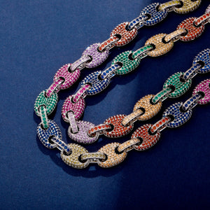 12mm Mixed Color Cubic Zirconia Mariner Link Chain