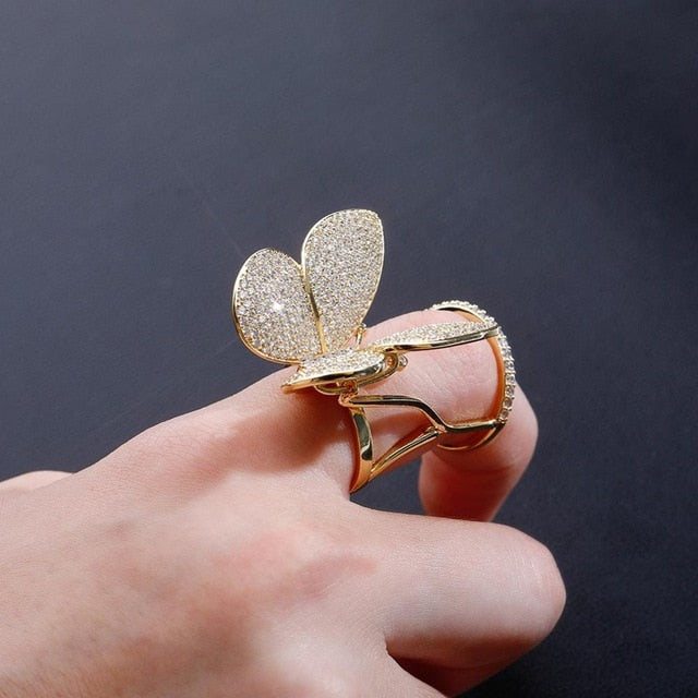 Iced Out Adjustable Wings Butterfly Ring
