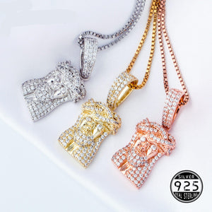 Iced Out Sterling Silver Jesus Pendant & Chain