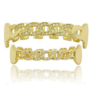 Micro Pave CZ Chain Grillz With Fangs