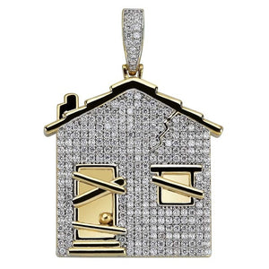 Iced Out Trap House Pendant & Chain