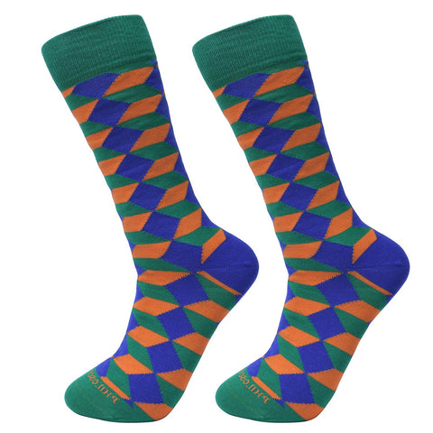 Socks-Big-blocks-Cool-Patterns-Crew-Socks-green