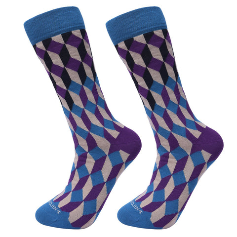 Socks-Bricks-Cool-Patterns-Crew-Socks-Purple