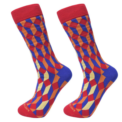 Socks-Bricks-Cool-Patterns-Crew-Socks-Red