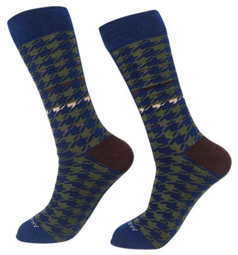 Socks-Houndstooth-Cool-Patterns-Crew-Socks-navy