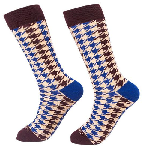 Socks-Houndstooth-Cool-Patterns-Crew-Socks-wine