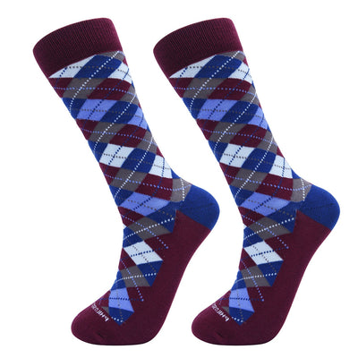 Socks-Argyle-Cool-Patterns-Crew-Socks-Burgundy