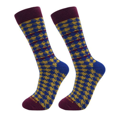 Socks-Houndstooth-Cool-Patterns-Crew-Socks-Mustard