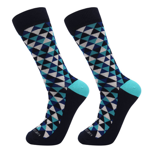 Socks-Trigons-Cool-Patterns-Crew-Socks-Blue
