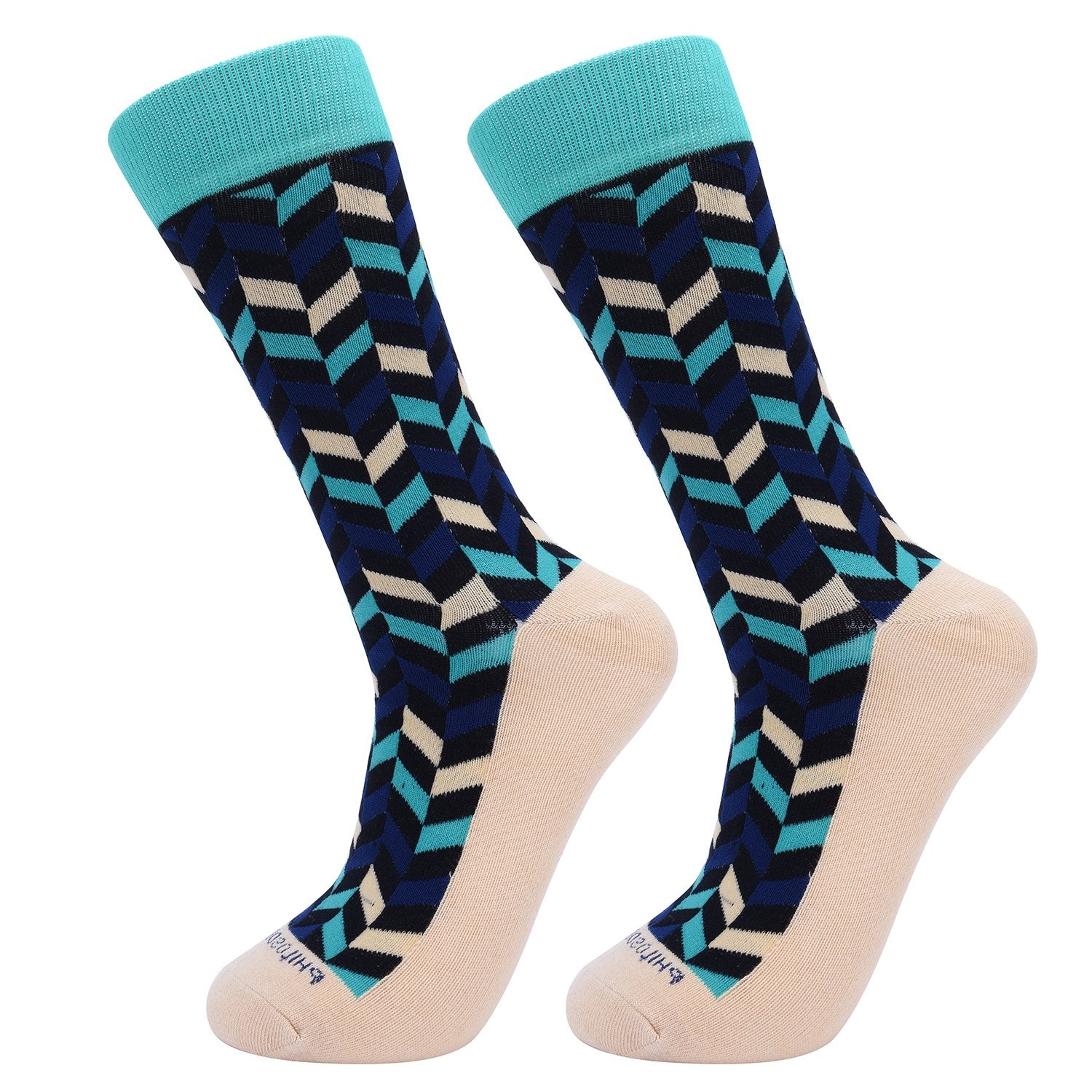 Socks-Very-Herringbone-Cool-Patterns-Crew-Socks-Green