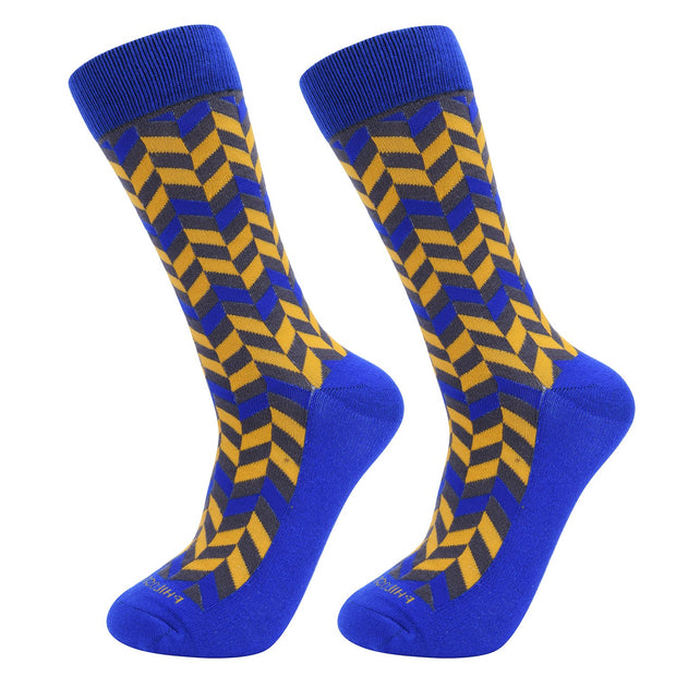 Socks-Very-Herringbone-Cool-Patterns-Crew-Socks-Yellow-Blue