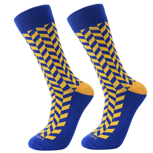 Socks-Very-Herringbone-Cool-Patterns-Crew-Socks-Yellow