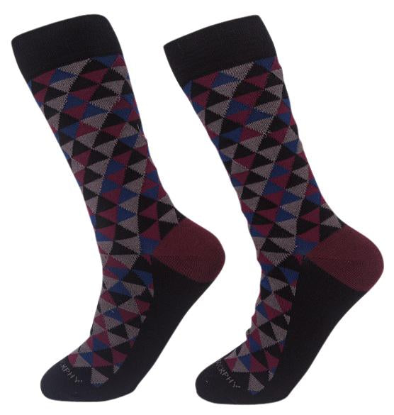 Socks-Trigons-Cool-Patterns-Crew-Socks-black