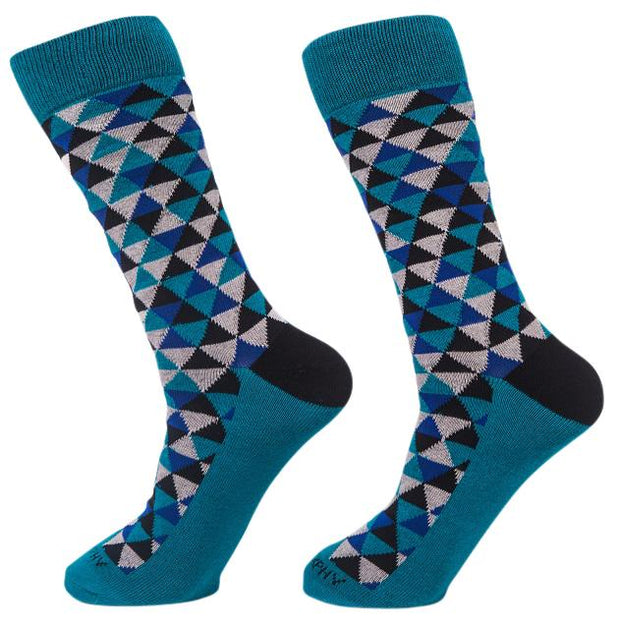 Socks-Trigons-Cool-Patterns-Crew-Socks-teal