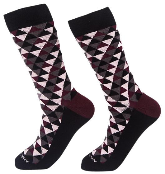 Socks-Trigons-Cool-Patterns-Crew-Socks-wine