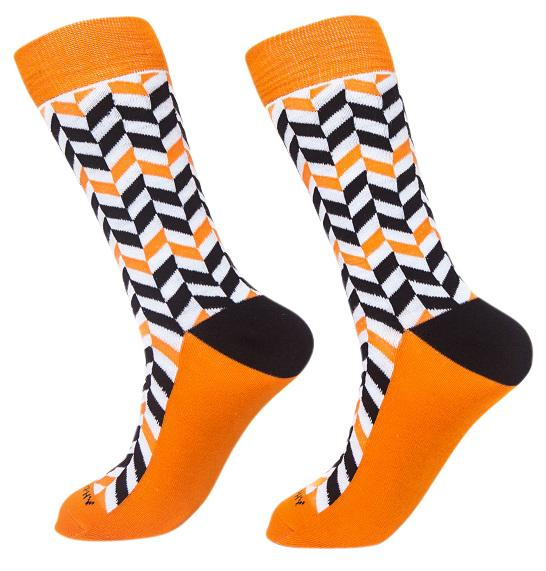 Socks-Very-Herringbone-Cool-Patterns-Crew-Socks-orange