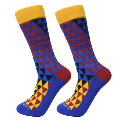 Socks-Trigons-Cool-Patterns-Crew-Socks-yellow-2