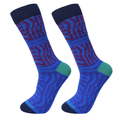 Socks-Zigzag-Cool-Patterns-Crew-Socks-Blue