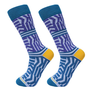 Socks-Zigzag-Cool-Patterns-Crew-Socks-Green