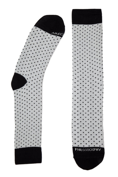 Socks - Black Dots On Gray Patterned Socks By Philosockphy