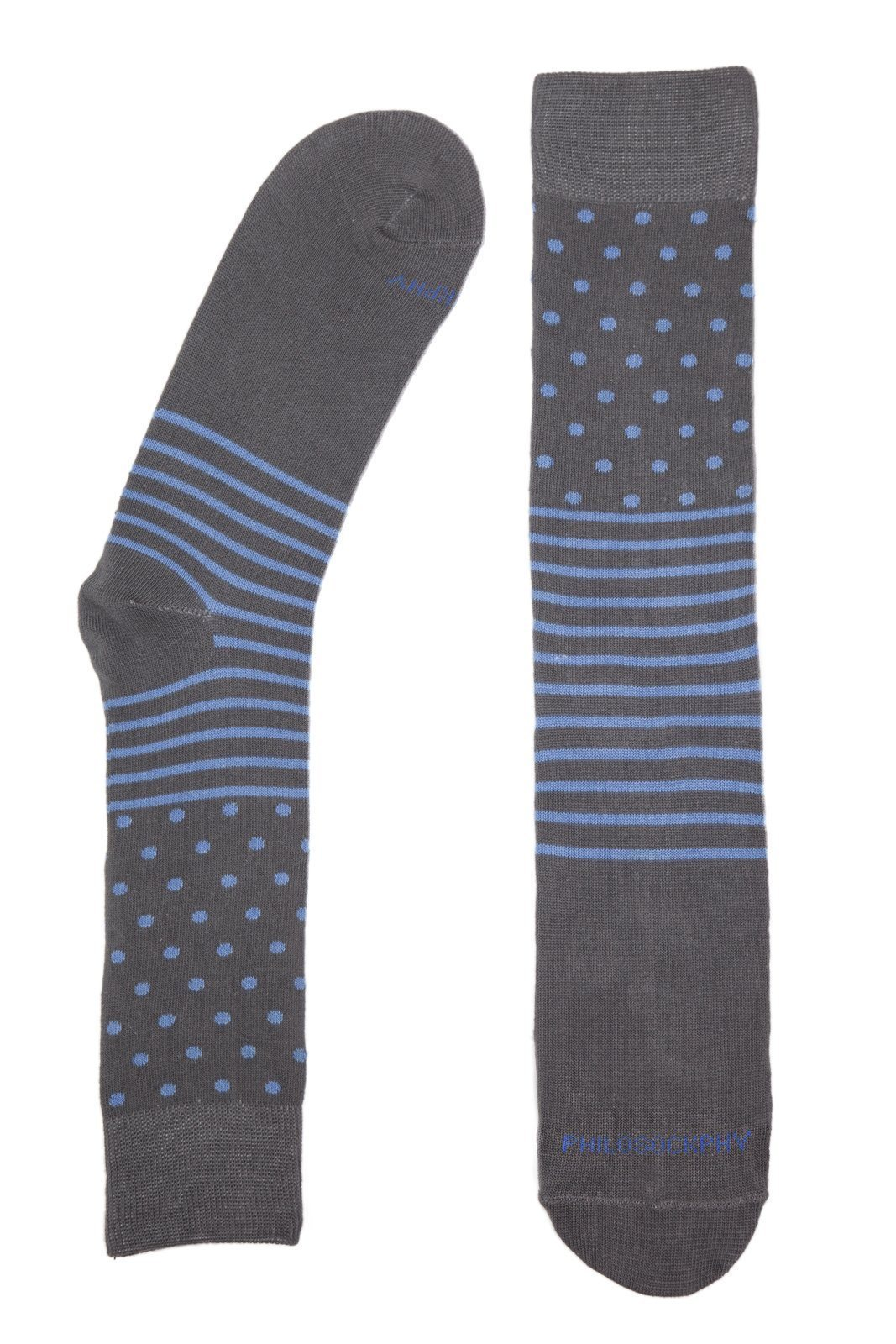 Socks - Dots And Stripes Socks By Philosockphy (Blue)