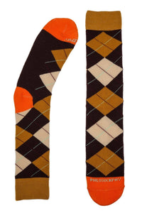 Socks - I Like Argyle Socks By Philosockphy (Orange)