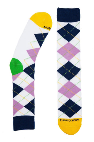 Socks - I Like Argyle Socks By Philosockphy (White)