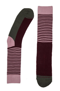 Socks - Stripes On Blocks Patterned Socks By Philosockphy (Burgundy)