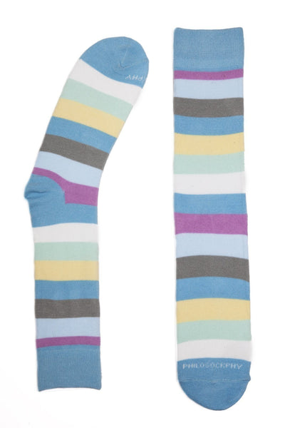 Socks - Stripes Patterned Socks By Philosockphy (Blue)