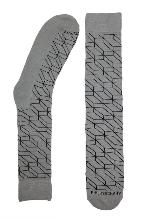 Socks - The Brick Patterned Socks By Philosockphy (Gray)