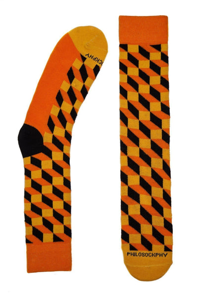 Socks - The Brick Patterned Socks By Philosockphy (Orange)