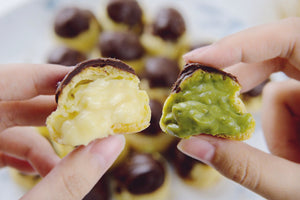 May's Kit: Dark Chocolate-Dipped Passionfruit x Matcha Cream Puffs