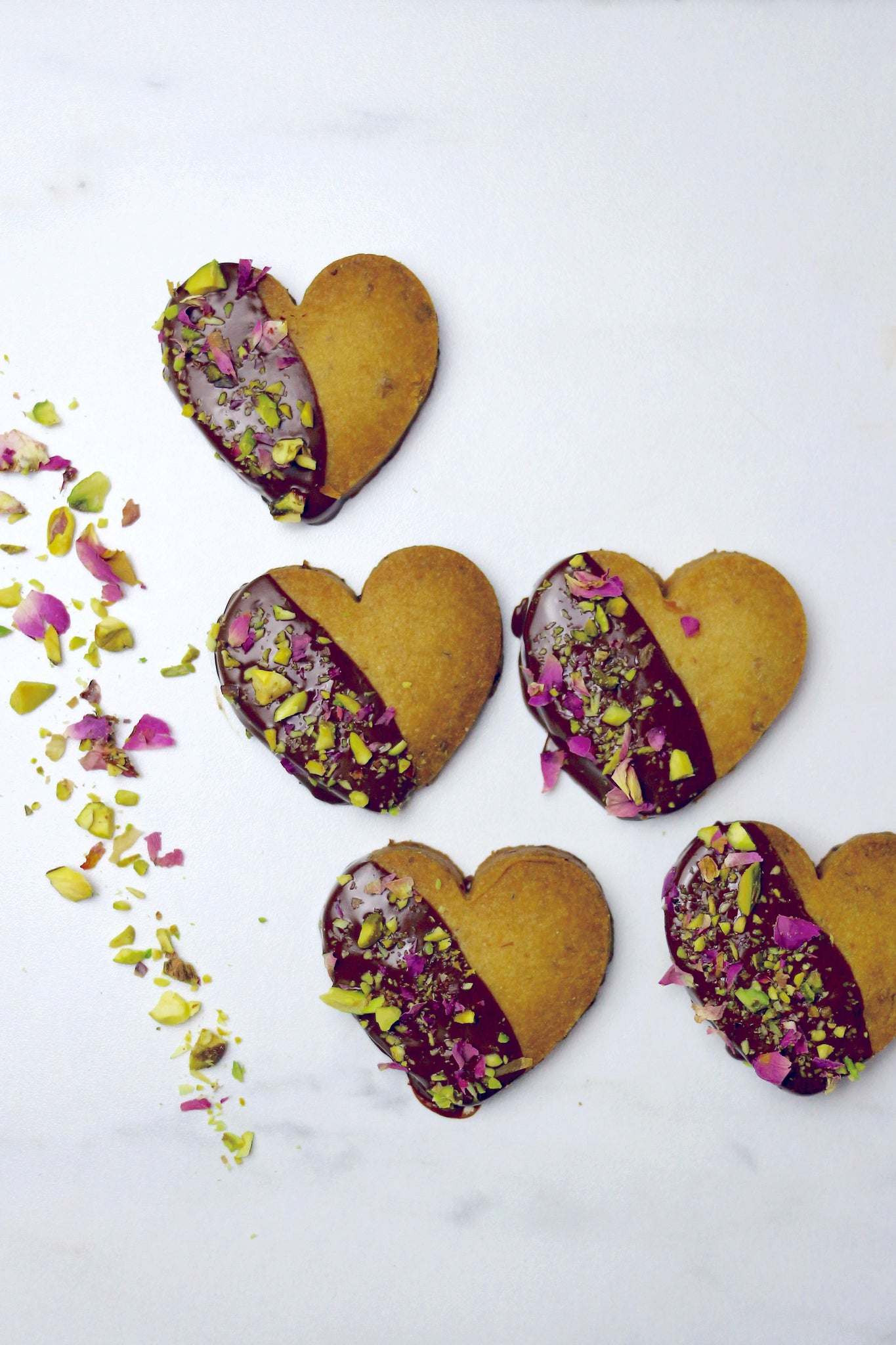 rose pistachio shortbread cookie recipe