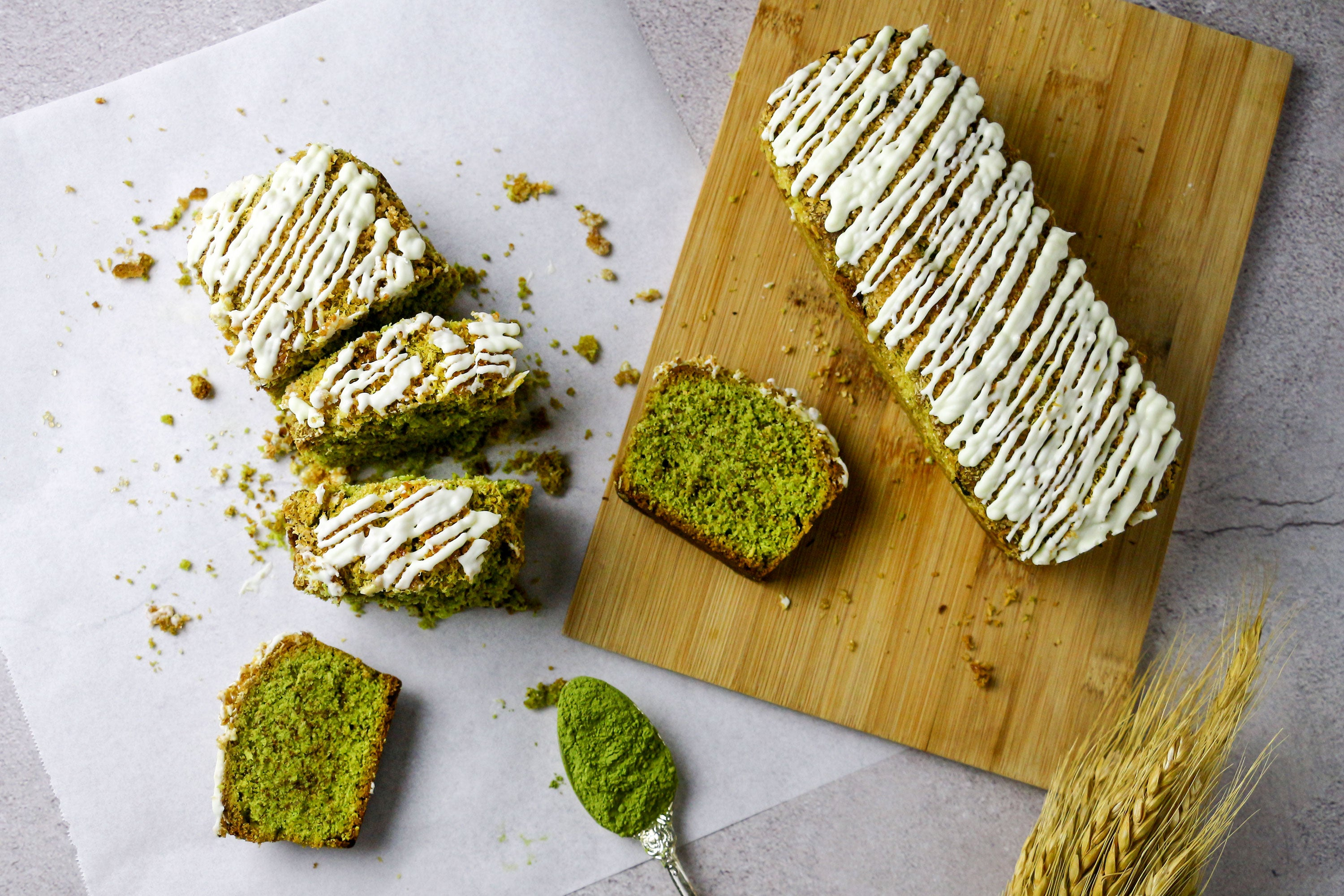 Matcha coconut white chocolate loaves