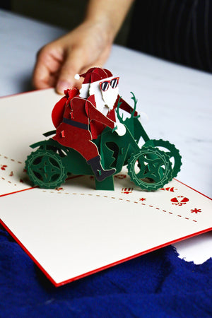 Santa's On A Motorcycle! Christmas 3D Pop-Up Card