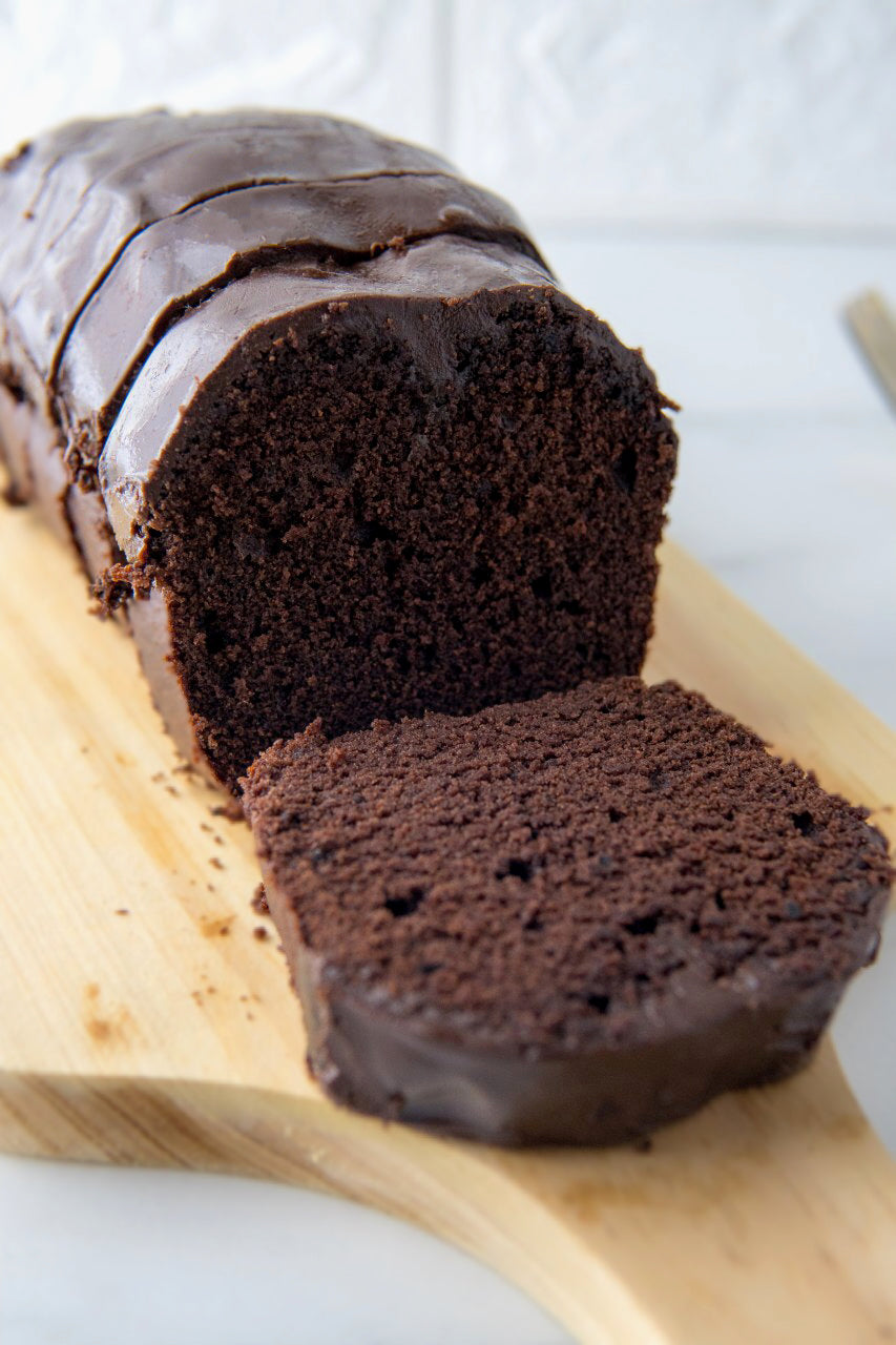 Doubly Dark Chocolate Ganache Loaf Cakes (makes 2x loaves)