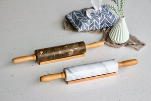 Natural Marble Rolling Pin with Solid Wood Handle [Regular-sized]