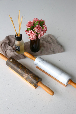 Marbled Coffee Rolling Pin with Solid Wood Handle [Regular-sized]