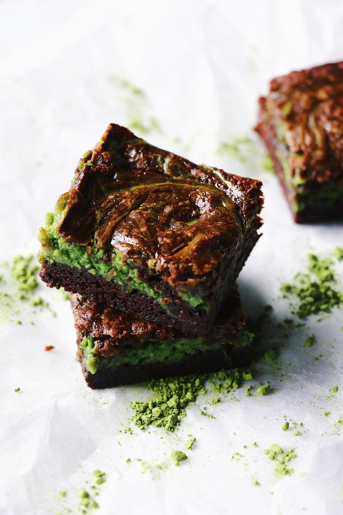 Matcha Marbled Cheesecake Brownies