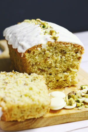 Glamorous Gwen | Pistachio Loaf Cakes w/ White Chocolate Glaze (makes 2x loaves)