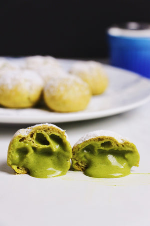 Matcha Muse | Matcha Cream Puffs w/ Matcha Cream (~20 puffs)