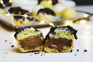 Cookies n' Scream | Dark Choc Cream Puffs w/ White Choc & Oreo Topping (~20 puffs)